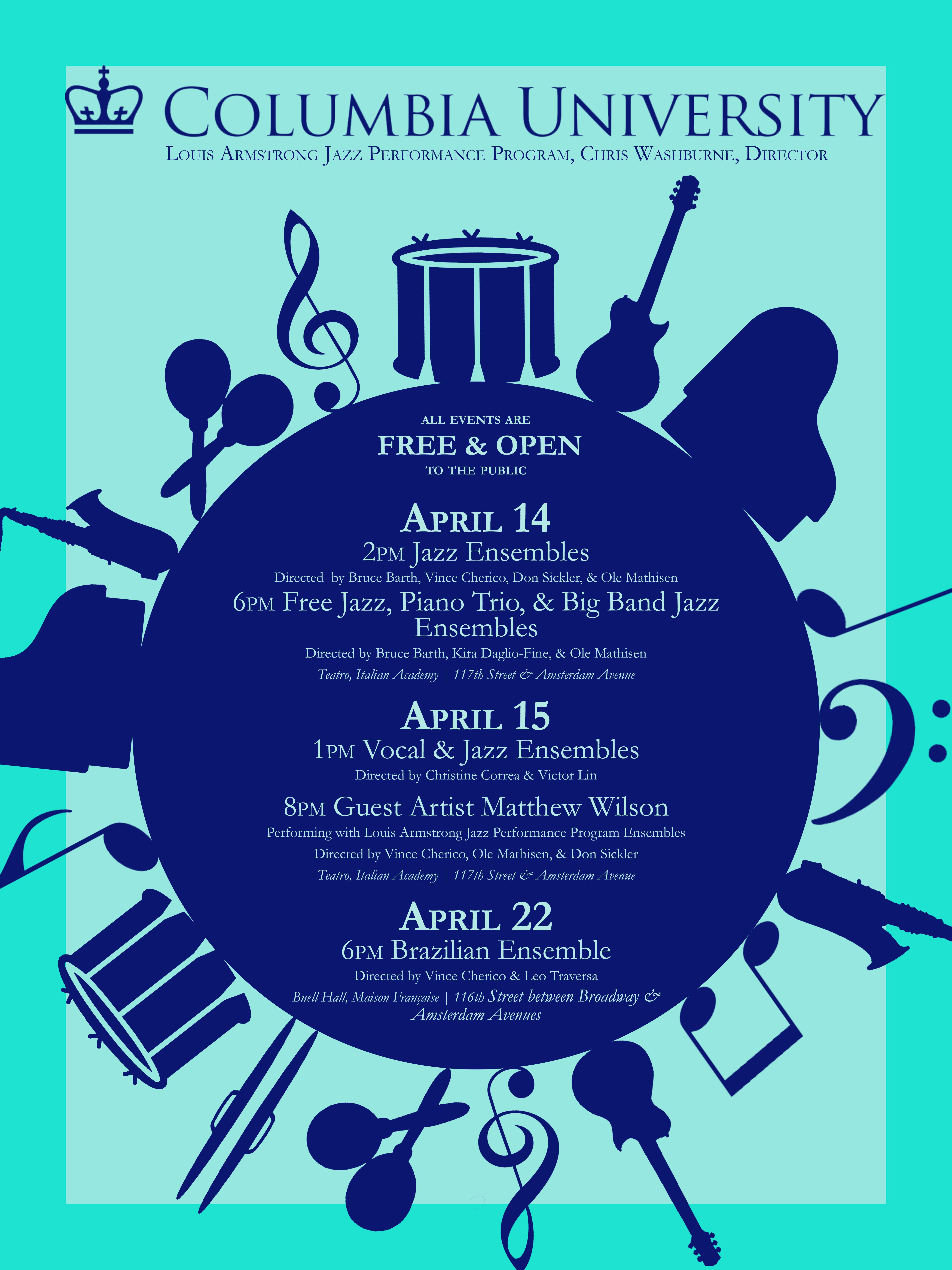 Free Jazz, Piano Trio, & BIg Band Jazz Ensembles - Columbia