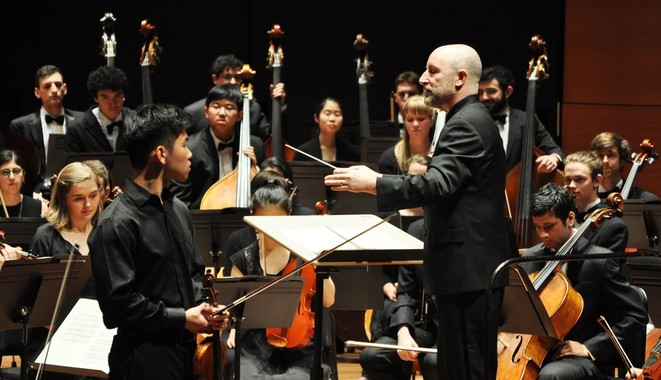 Maestro Jeff Milarsky with the Columbia University Orchestra. Photo by Alida Rose Delaney.