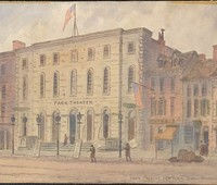 """Park Theatre, New York,"""" ca. 1840. Thomas Wakeman (1812-1878) / Museum of the City of New York. 29.100.837A"""