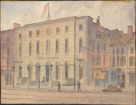 "Park Theatre, New York,"" ca. 1840. Thomas Wakeman (1812-1878) / Museum of the City of New York. 29.100.837A"