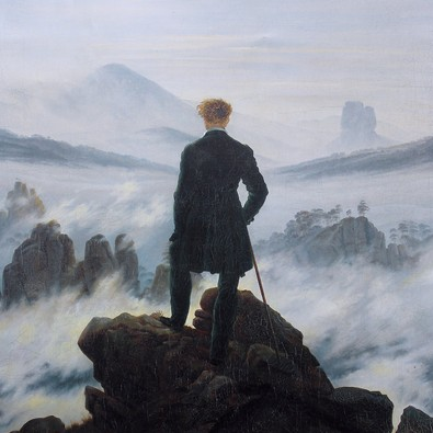 Caspar David Friedrich's Wanderer Above the Sea of Fog shows a young man looking pensively at the mist.