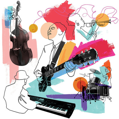 Line drawings of various musicians playing instruments, set against a white background with splashes of pastel colors.