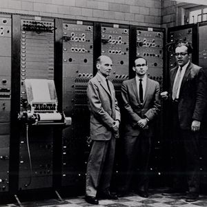 The RCA Mark II Synthesizer, with Milton Babbitt, Peter Mauzey, and Vladimir Ussachevsky (1959)